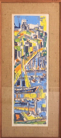 "Limited Edition Signed Werner Drewes ""Sunny Harbor"" Color Woodcut 1957 - $3K VALUE"