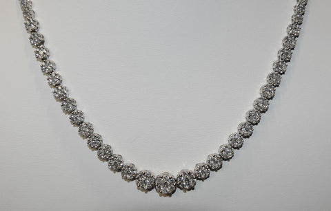 14.5+ Carat Graduated Diamond Flower Cluster Necklace in White Gold - $40K VALUE
