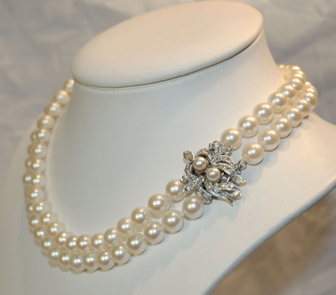 1950s Vintage Double-Strand Saltwater 7.5 mm Pearl Necklace with Diamond Clasp - $25K VALUE