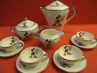 ONNAING LARGE MICKEY WALT DISNEY Art deco tea set France 1930