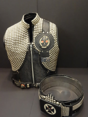 OUTSTANDING Motorcycle STUDDED Leather JACKET AND BELT Stuntman