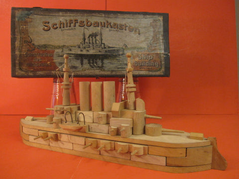 LARGE DREADNOUGHT BOAT Wooden Block Game 1900