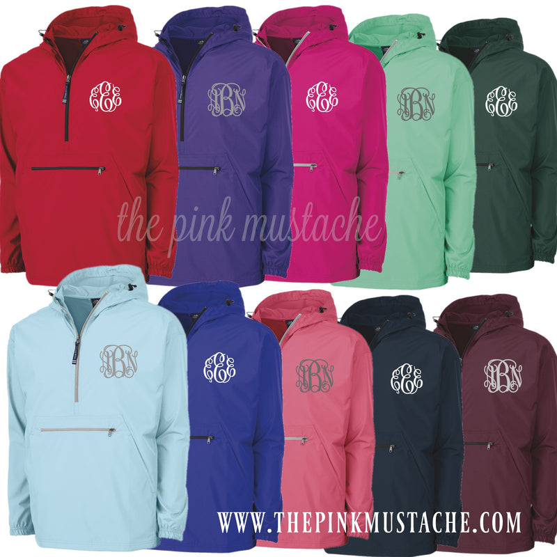 SALE Charles River Monogrammed Rain Jacket / Windbreaker / Pack and Go Pullover