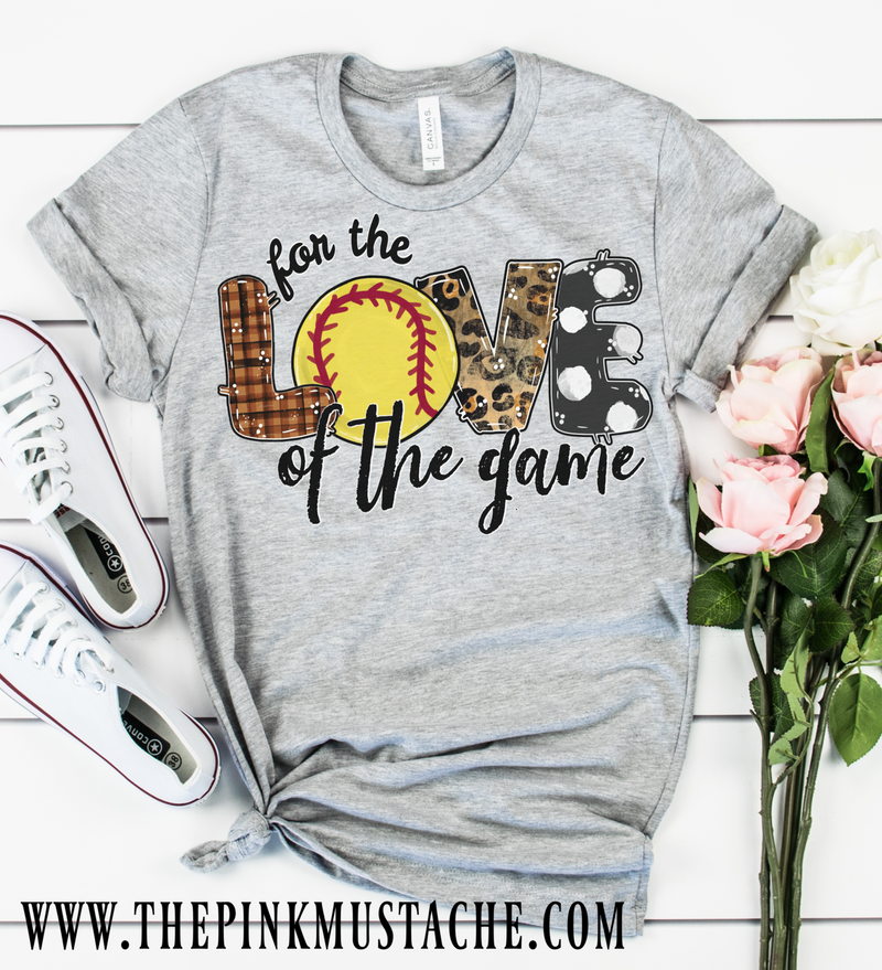 Hand Painted Design Softball For The Love Of The Game T-Shirt / Soccer Mom Tee/ T-Ball Shirt/ Gifts For Her/ SALE / Soccer Fan T-Shirt