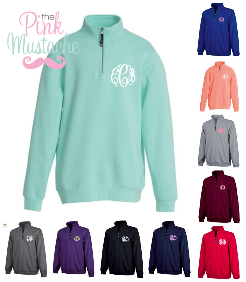 Charles River Monogrammed Quarter Zip Cadet Collar Sweatshirt - The Pink Mustache , Monograms, Boutique , Children , Monogram Clothing,