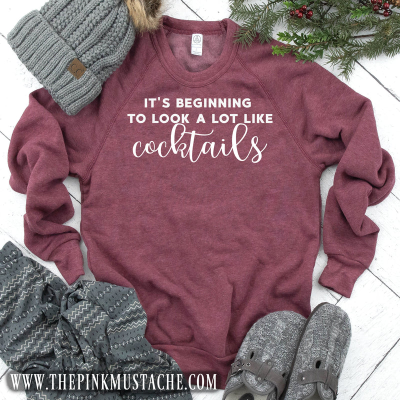 It's Beginning to Look A Lot Like Cocktails Mineral Wash Sweatshirt / Christmas Sweatshirt