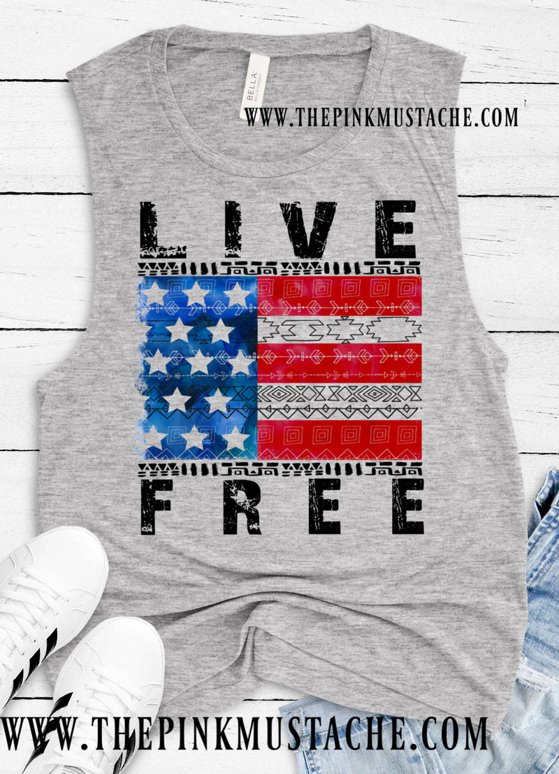 4th Of July Merica Tank Top / Memorial Day Tank / Live Free Flag Tank Top