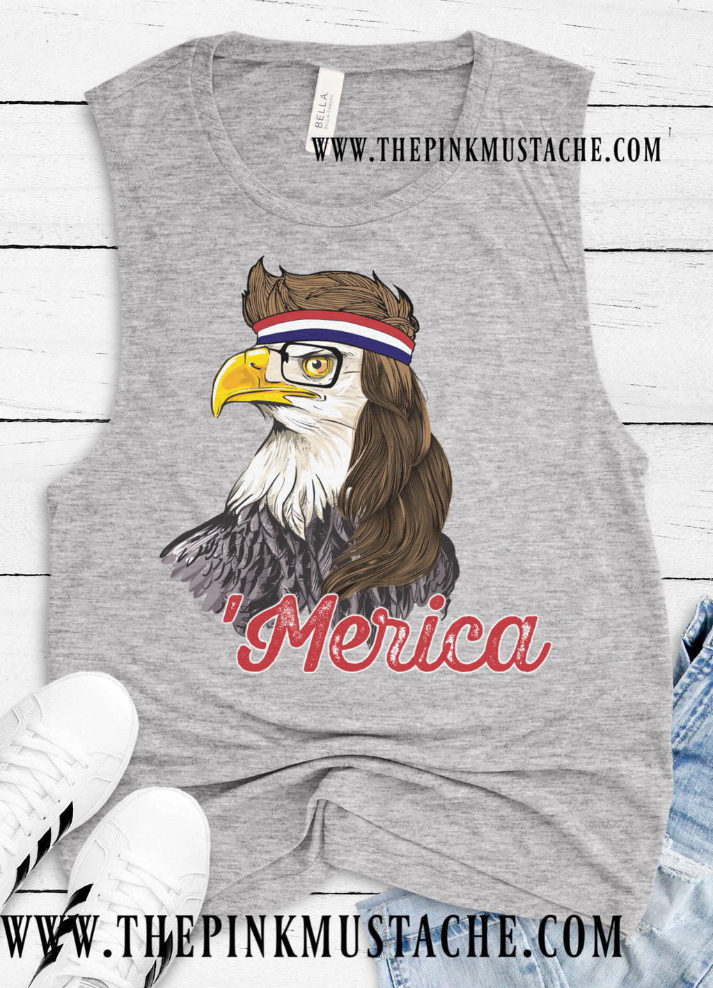 4th Of July Merica Tank Top / Memorial Day Tank / Eagle With Mullet