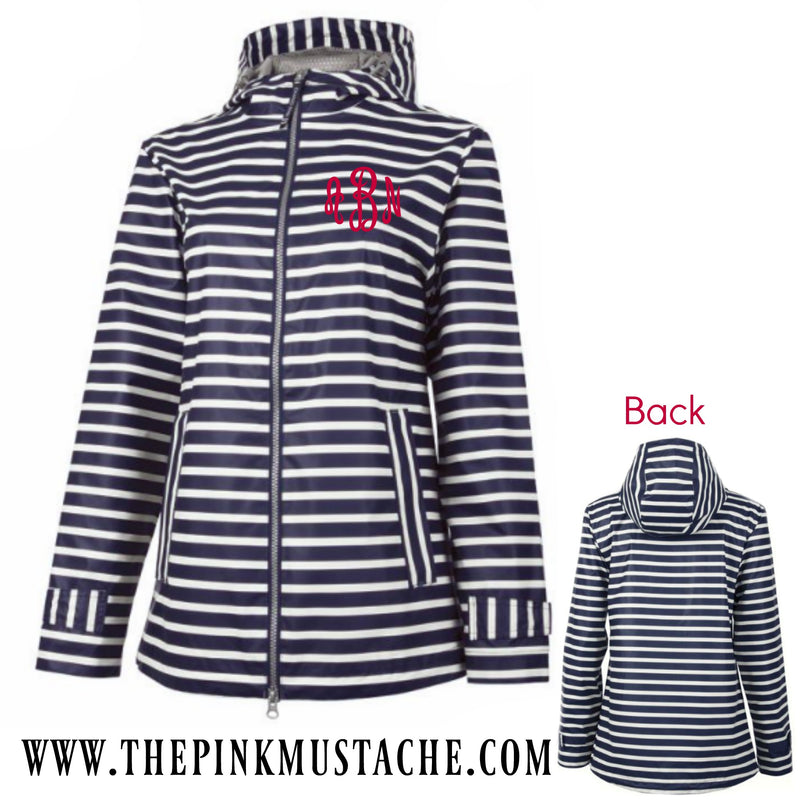 Monogrammed Navy Striped New Englander - Charles River - Rain Jacket / Navy Stripe