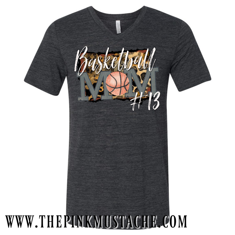 Custom V-Neck Basketball Mom Shirt with Child's Number