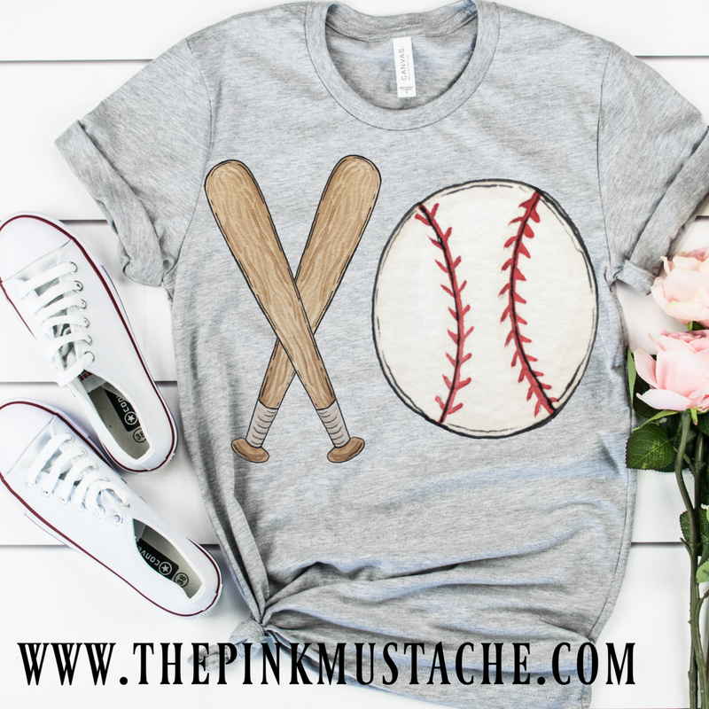 Baseball Hand Painted XO Bat and Ball Tee