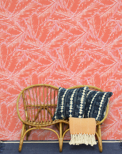 Best Fronds Removable Wallpaper - Retro Red - Wallshoppe