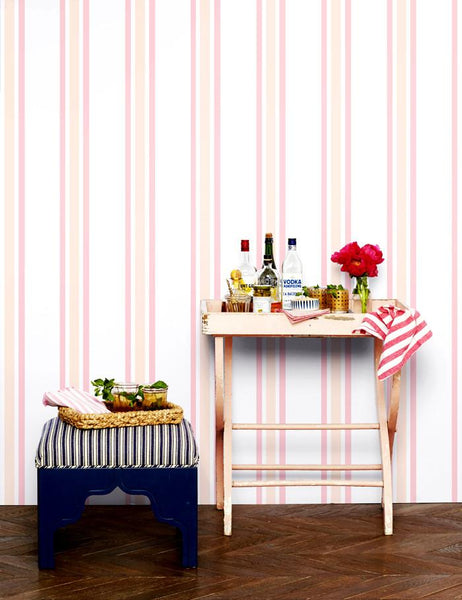 Between the Lines Wallpaper - Peach - Wallshoppe