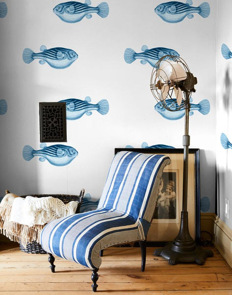 Blowfish Wallpaper - Blue - Wallshoppe