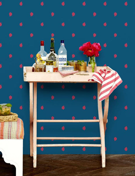 Medina Dot - rose / cadet blue wallpaper roll - Wallshoppe