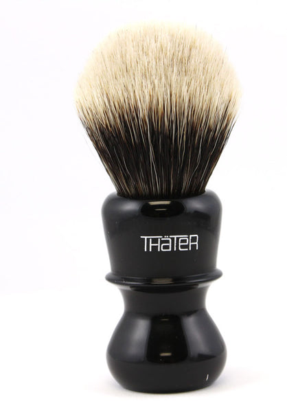 H.L. Thater Special Edition Black Brush in Two Band Badger -Fan Rounded Knot