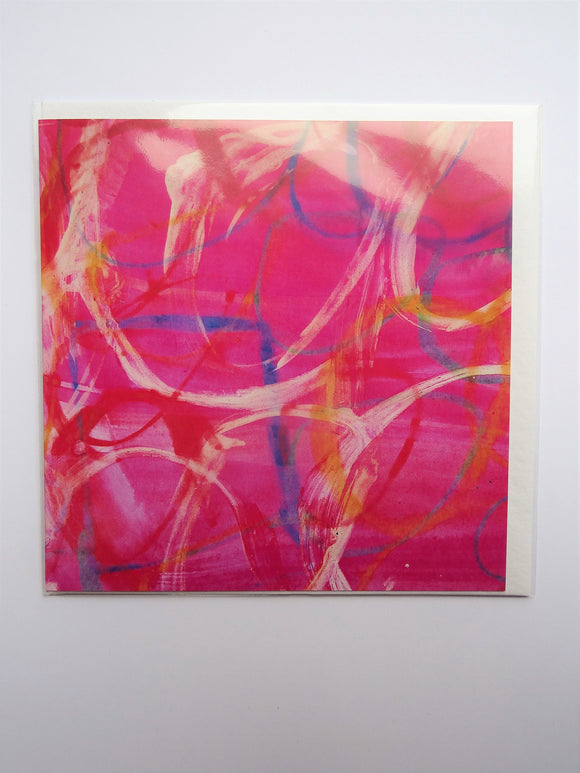 Pink Abstract Greetings Cards