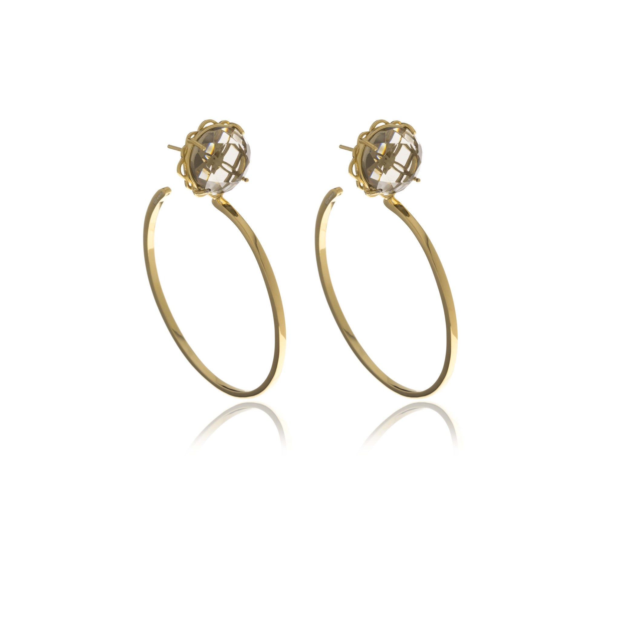 Signature Gold Diamond  Cut Hoops  Crystal Earrings - MCK Brands