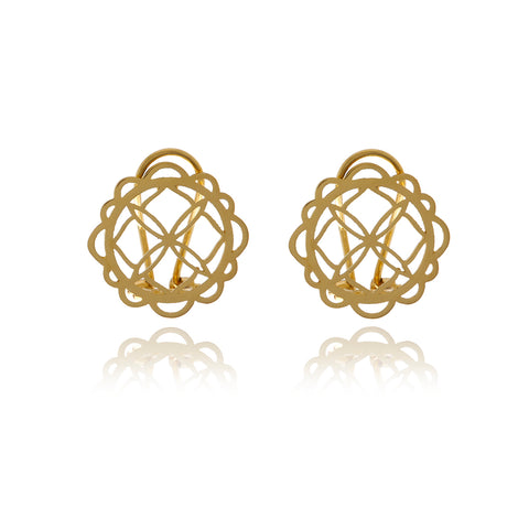 Signature Crystal Gold Flower Earrings