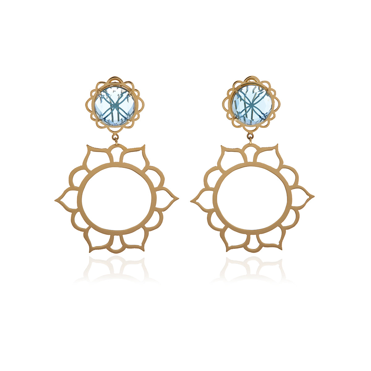 Signature Crystal Gold Flower Earrings - Georgina Jewelry
