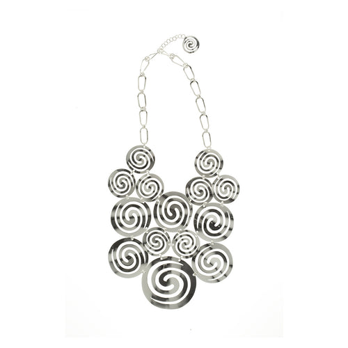 Sidereal  Silver Spiral Runway Necklace - Georgina Jewelry