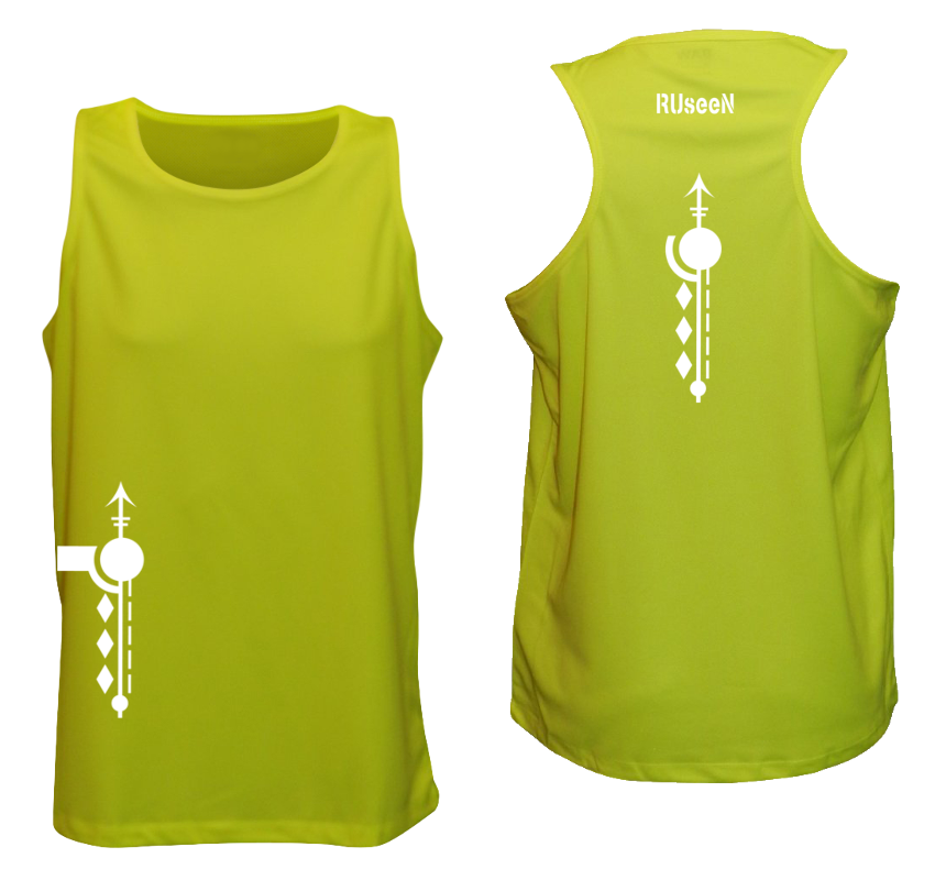 MEN'S REFLECTIVE TANK TOP – PATHS - Front & Back – Lime Yellow