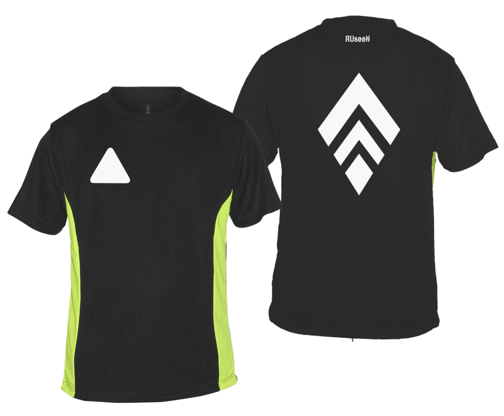 Men's Reflective Short Sleeve Shirt - Broken Diamond - Front & Back - Black w/ Lime Yellow