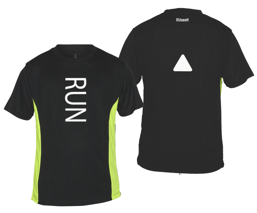 Men's Reflective Short Sleeve Shirt - RUN - Front & Back - Black w/ Lime Yellow Stripes