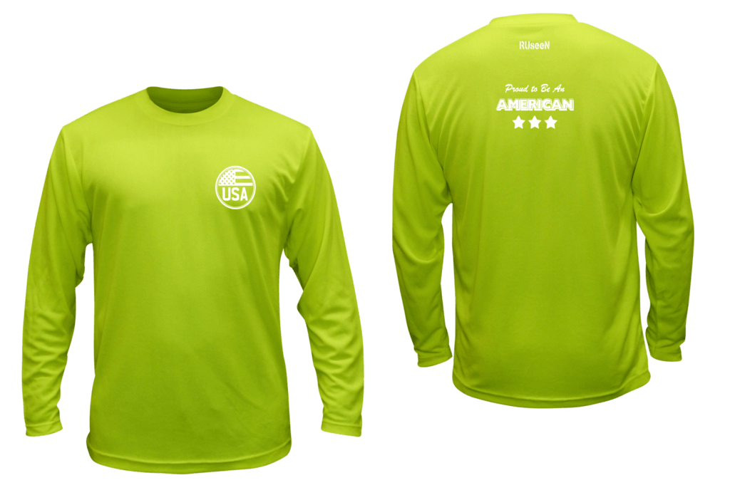 Unisex Reflective Long Sleeve Shirt - Proud American - Front & Back - Lime Yellow