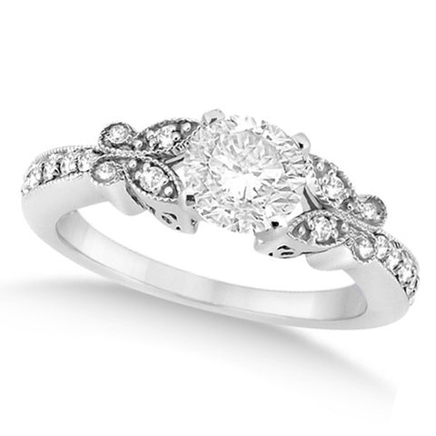 1.00ct Round Butterfly Design 14k White Gold Diamond Engagement Ring