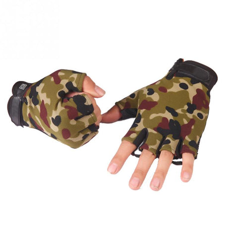 Nylon & Leather Half Finger Weight Lifting Gloves