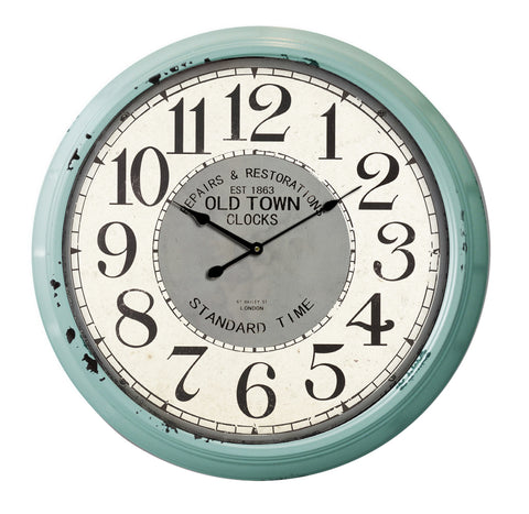 Classical 24'' Big Metal Clock (Blue Frame)