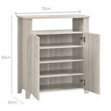 2 Door Shoe Cabinet With Open Shelf In White Oak