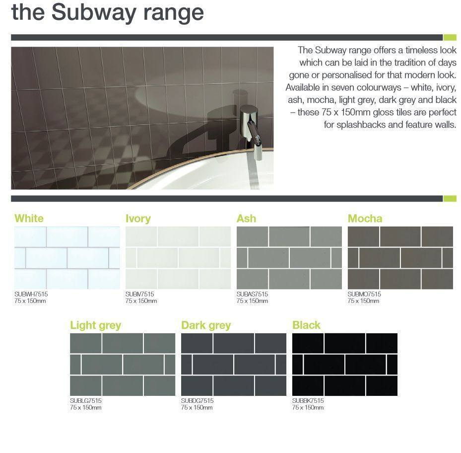 75 x 150 mm Ash Subway Pencil Feature wall tiles