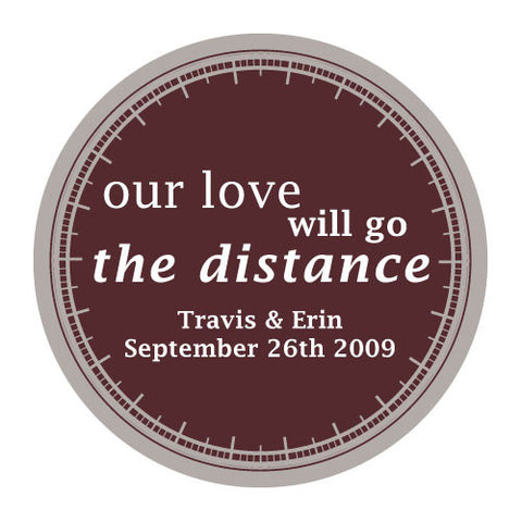 love will go the distance, stickers, chocolate, personalize, names, wedding date, guests, gifts, favor, favors, biking, bicycles