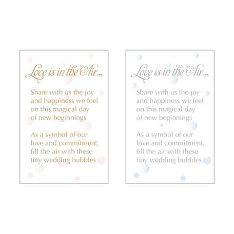 love is in the air, bubbles, tags, personalize, guests, favors, favor, bronze, pink, weddings