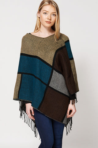 Knitted Geometric Design Poncho With Fringe-Multi-One Size