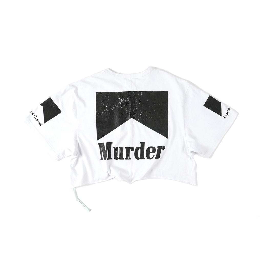 Ladies Cropped Murder Tee - White