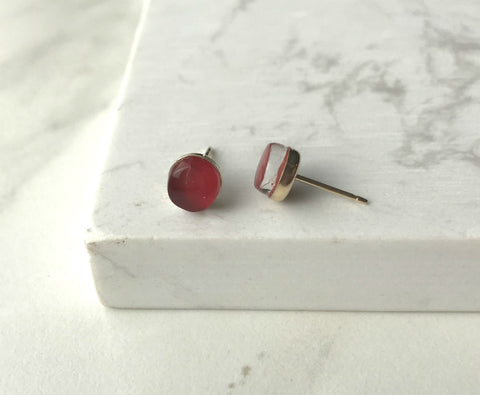 Maria Stud Earrings- Red