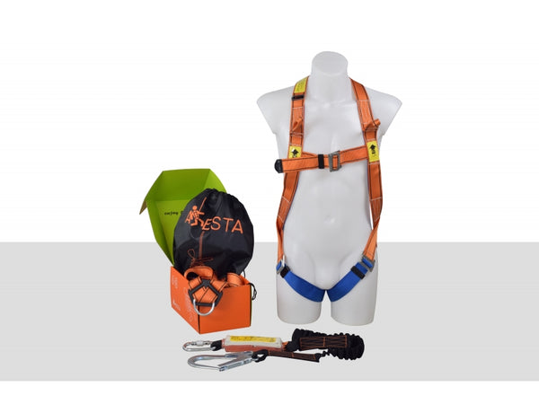 ARESTA SCAFFOLDER KIT 2S - DOUBLE POINT HARNESS - ELASTICATED WEBBING LANYARD IN PUMP BAG