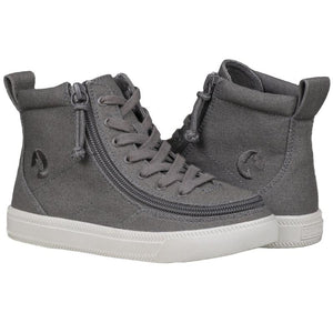 Kid's Dark Grey BILLY Classic Lace High, zipper, shoes, velcro, adaptive, accessible, afo, universal, kids, comfortable, BILLY Footwear