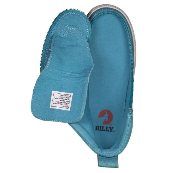 Kid's Turquoise BILLY Classic Lace High, zipper, shoes, velcro, adaptive, accessible, afo, universal, kids, comfortable, BILLY Footwear