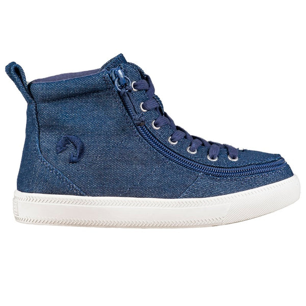 Kid's Blue Denim Glitter BILLY Classic Lace High, zipper, shoes, velcro, adaptive, accessible, afo, universal, kids, comfortable, BILLY Footwear