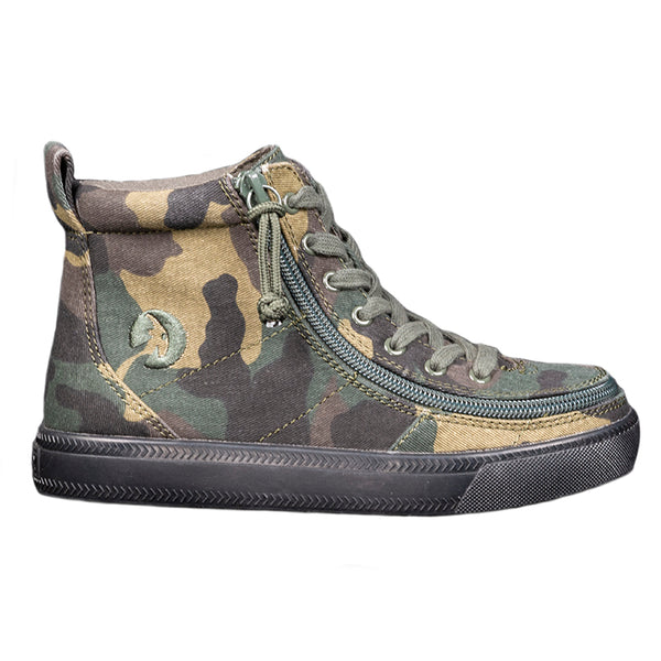 Kid's Green Camo BILLY Classic Lace High, zipper, shoes, velcro, adaptive, accessible, afo, universal, kids, comfortable, BILLY Footwear