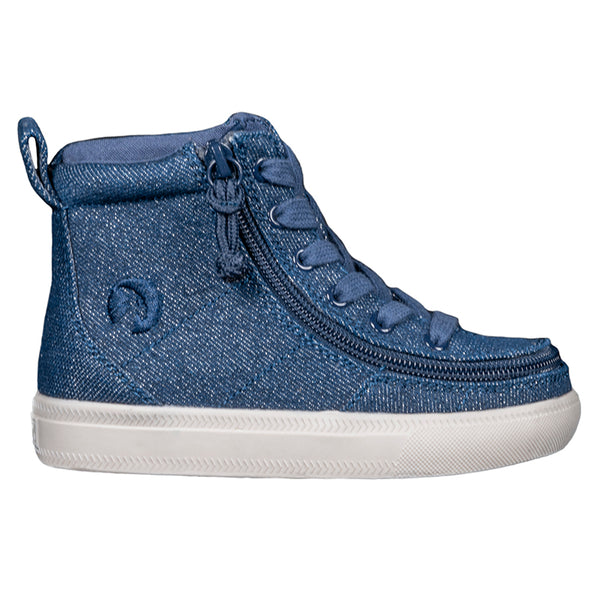 Toddler Blue Denim Glitter BILLY Classic Lace High, zipper, shoes, velcro, adaptive, accessible, afo, universal, kids, comfortable, BILLY Footwear