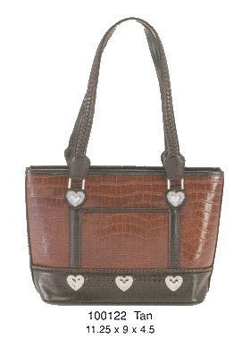 Fashion | Handbag With Five Medallion Hearts Tan and Brown
