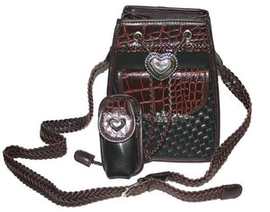 Fashion | Handbag Black and Brown Purse with Medallion Heart