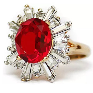 Ruby and Clear Swarovski Ring