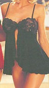 Lingerie | Black Lace and Knit Babydoll with G-String