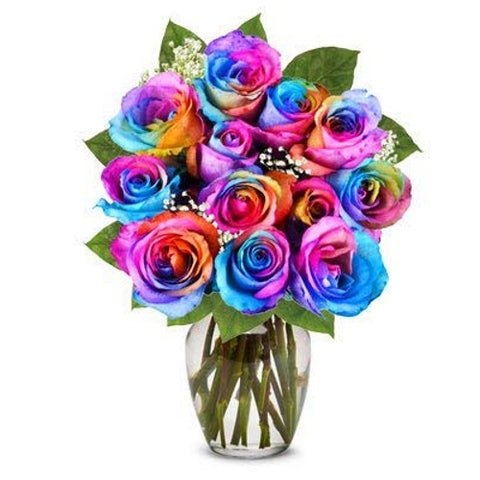 Flowers - Rainbow Roses with Vase